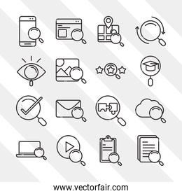 search icons, smartphone technology email laptop check mark thin line style