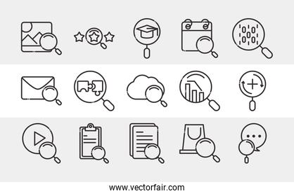 search icon, set icons thin line pictogram, email cloud computing calendar