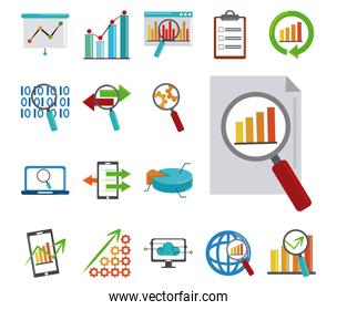 data analysis, business financial economy digital collection flat icons