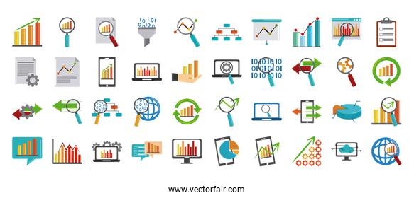 data analysis, financial business invest marketing report flat icons