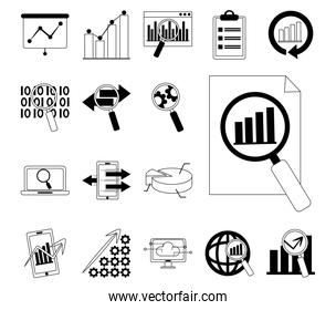 data analysis, business financial economy digital collection line icons