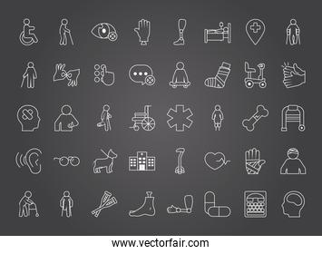 icon set of disabilities concept, line style