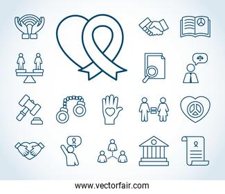 heart and human rights icon set, line style