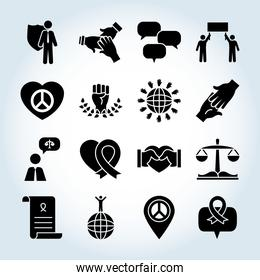 icon set of human rights and hands, silhouette style