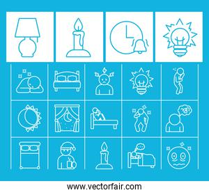 night lamp and insomnia icon set, line style