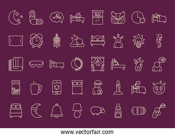 icon set of insomnia, line style