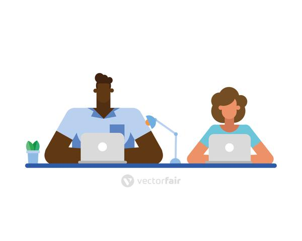 Businessman and businesswoman at desk with laptop vector design