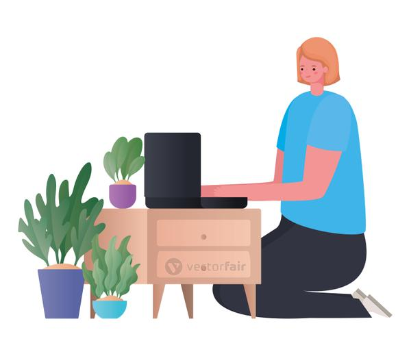 Woman with laptop on furniture working vector design