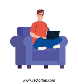 Man cartoon with laptop on chair working vector design