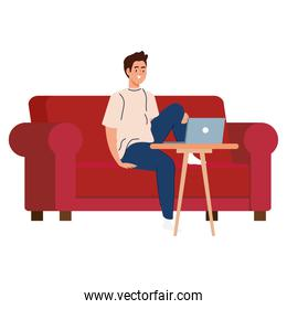 Man cartoon with laptop on couch working vector design