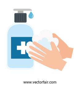 hands washing and sanitizer bottle with cross label vector design