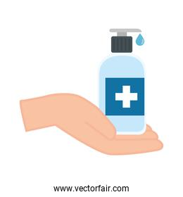 hands sanitizer bottle with cross label over hand vector design