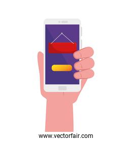 hand holding smartphone with banner board vector design