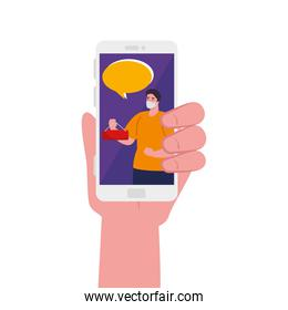 hand holding smartphone with man mask banner and bubble vector design