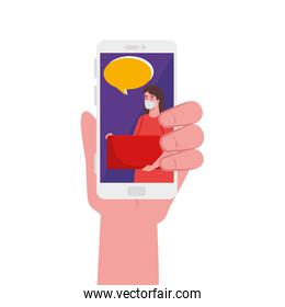 hand holding smartphone with woman mask banner and bubble vector design