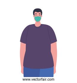 plus size man with medical mask vector design