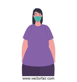 plus size woman with medical mask vector design