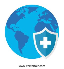 Medical cross shield with world vector design