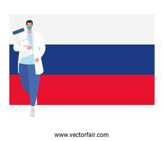 doctor man with mask and covid 19 vaccine bottle on rusia flag vector design
