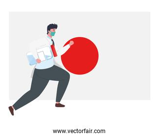 doctor man with mask and covid 19 vaccine bottle on japan flag vector design