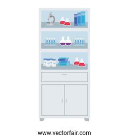 laboratory furniture with flasks vector design