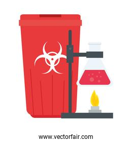 laboratory flask over flame and trash vector design