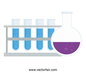 laboratory tubes and flask vector design