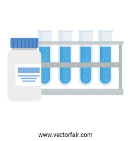 laboratory bottle with label and tubes vector design