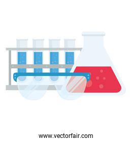 laboratory tubes glasses and flask vector design