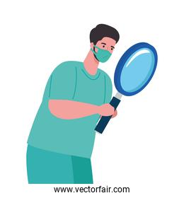 man doctor with medical mask and lupe vector design