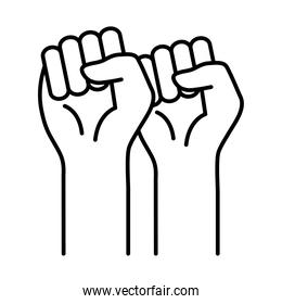 raised fist hands line style icon vector design