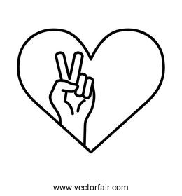 peace and love hand in heart line style icon vector design