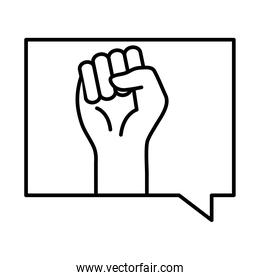 raised fist hand in bubble line style icon vector design