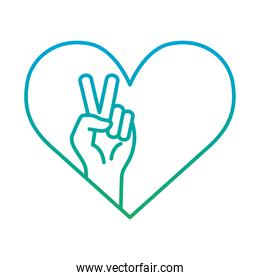 peace and love hand in heart degraded style icon vector design
