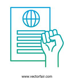 raised fist hand with human rights document degraded style icon vector design
