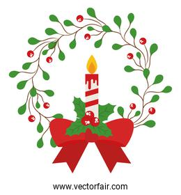 merry christmas candle in berries with leaves crown with bowtie vector design