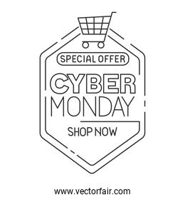 cyber monday pecial offer in frame with cart vector design