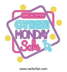 neon cyber monday special offer in frame with flowers vector design