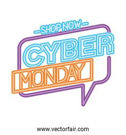 neon cyber monday in bubble with shop now vector design
