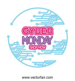 neon cyber monday shop now in circle vector design