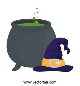 halloween witch hat with bowl vector design
