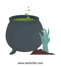 halloween witch bowl with zombie hand vector design