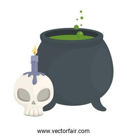 halloween witch bowl with skull candle vector design