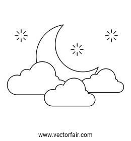 moon with clouds and stars vector design