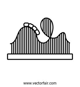 roller coaster mechanical fairground attraction line style icon