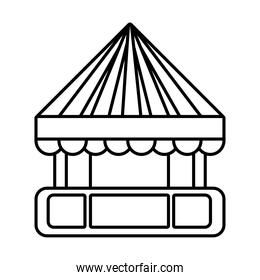 tent kiosk mechanical fairground attraction line style icon