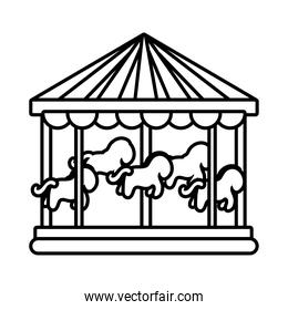 carousel mechanical fairground attraction line style icon