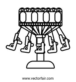 chairs flying mechanical fairground attraction line style icon