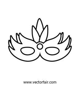 carnival mask with feathers line style icon