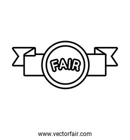 fair seal with ribbon line style icon